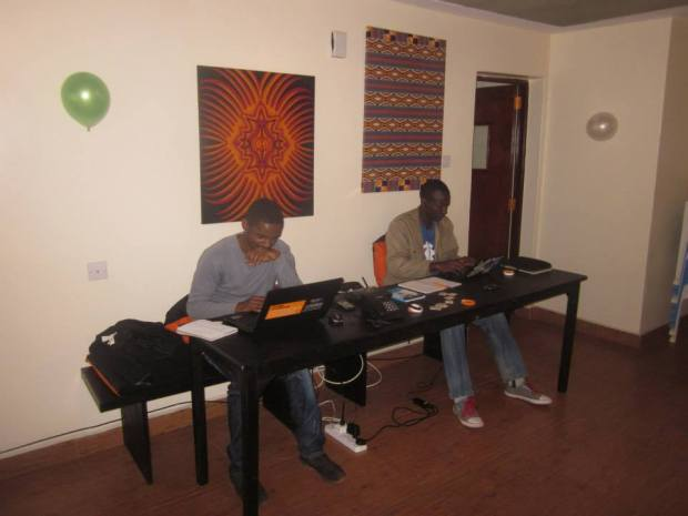 Our new product team hard at work in the new Nairobi office.
