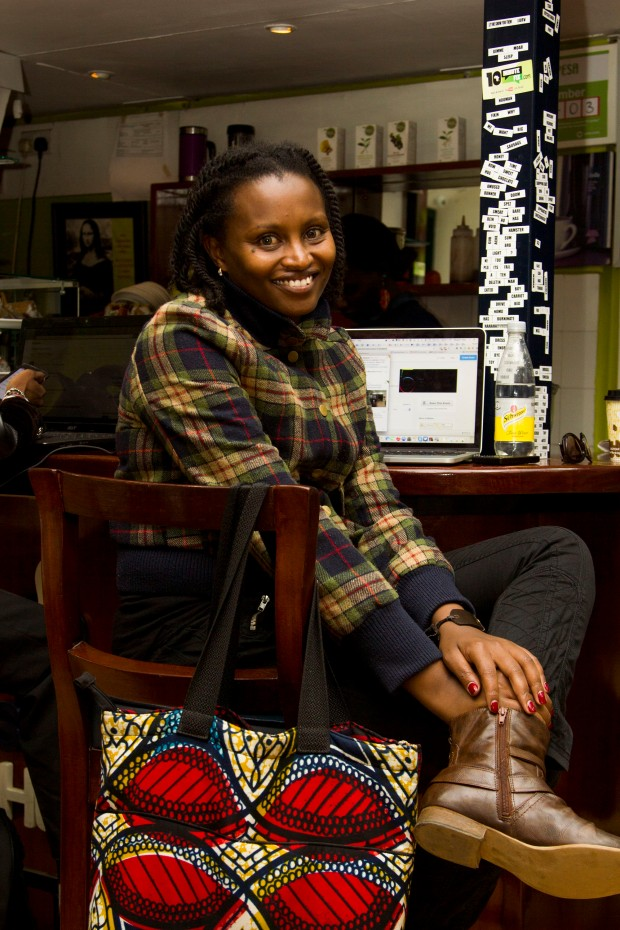 Mugethi at her workplace, in the iHub. Photo credit: Abu Okari